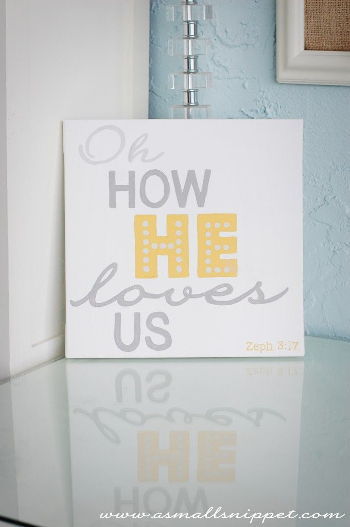 Haven't honestly even looked at this.. But love the final product shown!  how to make a DIY painted canvas - great idea to get perfect lettering!