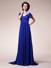 LAN TING BRIDE A-line Plus Size Petite Mother of the Bride Dress - Sparkle & Shine Sweep / Brush Train Short Sleeve Chiffon Stretch Satin