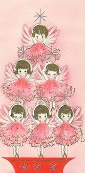 Pink Angel Tree: Vintage Christmas Cards, Pink Christmas, Pink Trees, Paper Dolls, Angel Trees Vintage, Christmas Vintage, Angel Vintage, Pink Angel, Vintage Cards