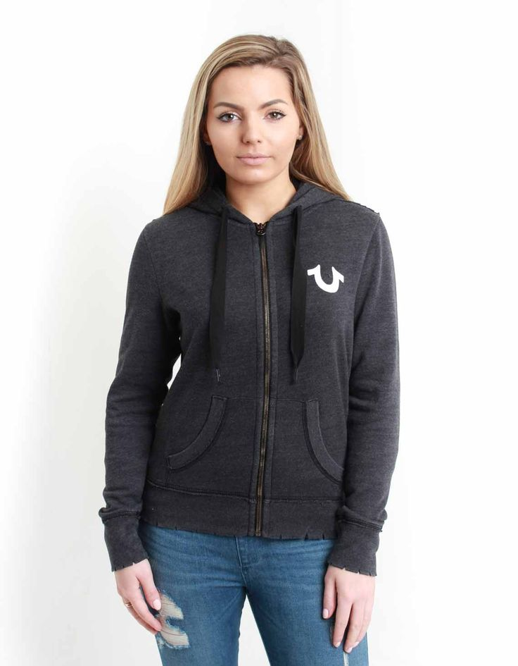 True Religion Washed Black Hoodie With Raw Detailing | Accent Clothing