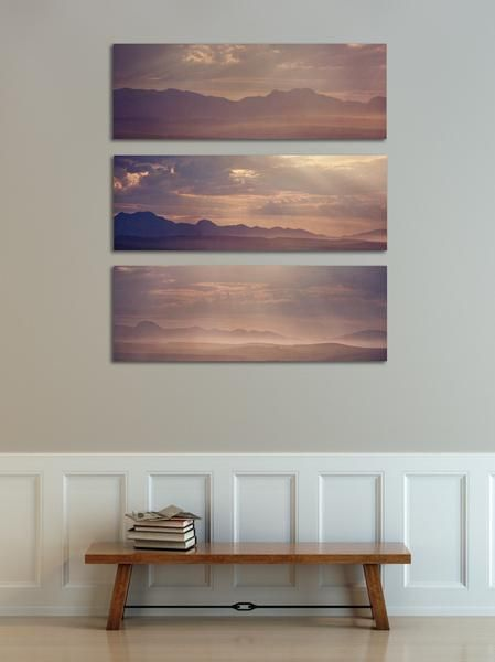 'Misty mountains' print set - 3x 40x90cm prints