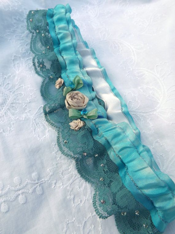 Embroidered wedding garter something blue garter by PaleSilk
