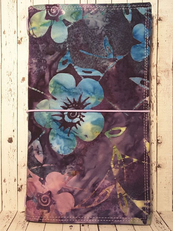 Wilddori 'Batik Blooms' Travelers Notebook Journal with Lilac Lining and Lilac Elastic, Midori Style Fauxdori, with Insert.