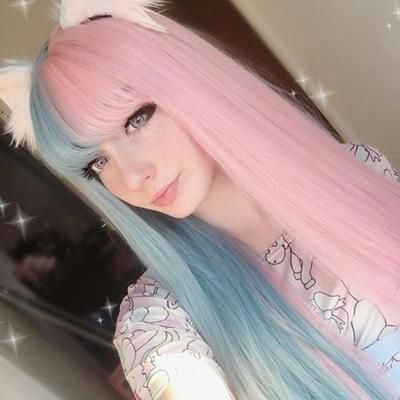 Review For Half Blue Half Pink Big Wave Wig Yv40408