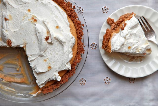Pumpkin Cream Pie with Maple Whipped Cream. Tastes like a creamy pumpkin pie. 1/2 the filling next time, too much.