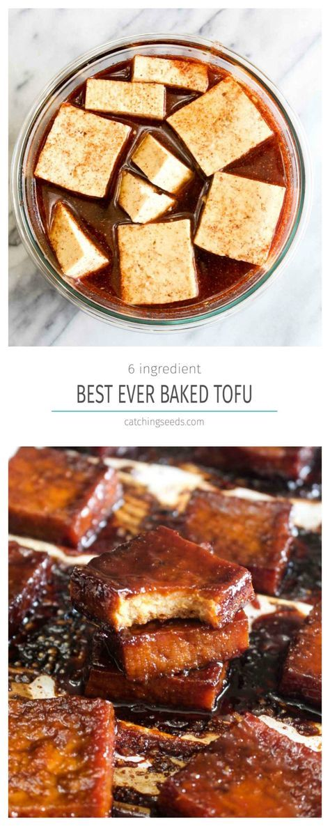 This 6 ingredient Best Ever Baked Tofu is jam packed with savory & sweet flavor! Learn how to make even tofu haters into lovers with this recipe. | http://CatchingSeeds.com