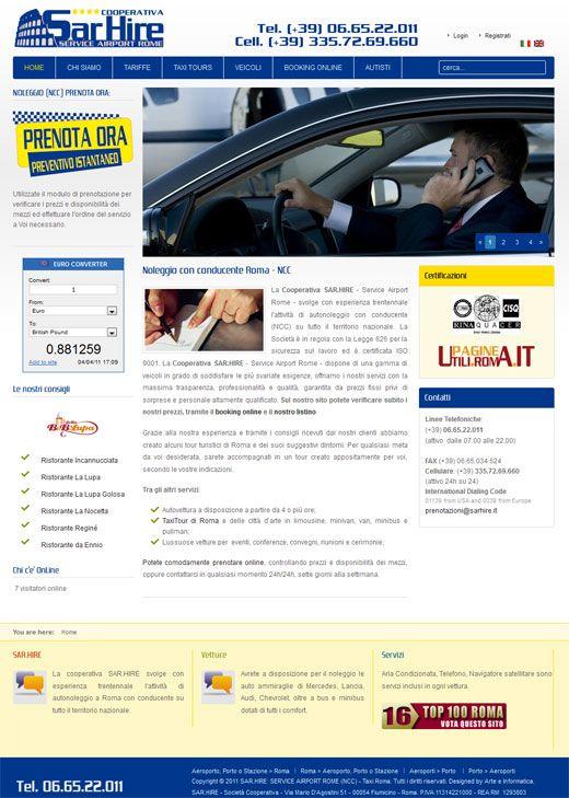 Realizzazione Sito Web Cooperativa SAR.HIRE: NCC Roma