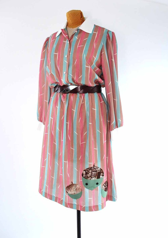 pastel striped vintage dress with applique acorns  sheer by aorta, $36.00