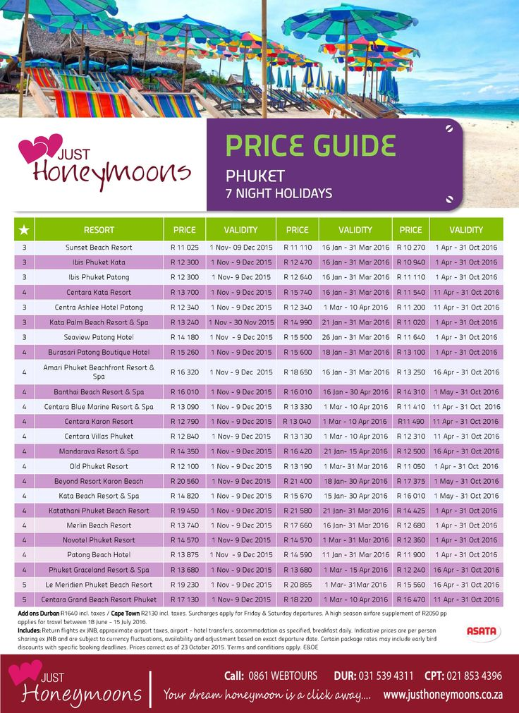 Phuket is one of the most affordable and fabulous for Honeymooners - top deals for SA residents