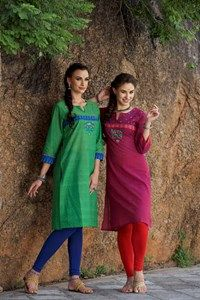 #Kalanjali #presents # Exclusive #Mirror #Maze# Collection#This pretty kurta is just what you need for that chic look. Style it with leggings and flats for an elegant ensemble. The simple round neck with a split V neckline, solid three quarter sleeves and side slits adds a dash of cool style. The Pochampally patching at the yoke and sleeves with coordinating ornate mirror embroidery ups the style quotient.