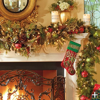 Christmas Garland fireplace mantel decor