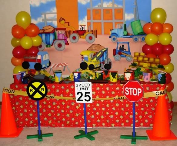 Decoracion de mesa de construcci n fiesta de for Decoracion construccion