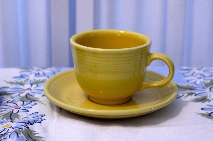 Fiesta p86 Yellow Contemporary Teacup and Saucer Set #Fiesta