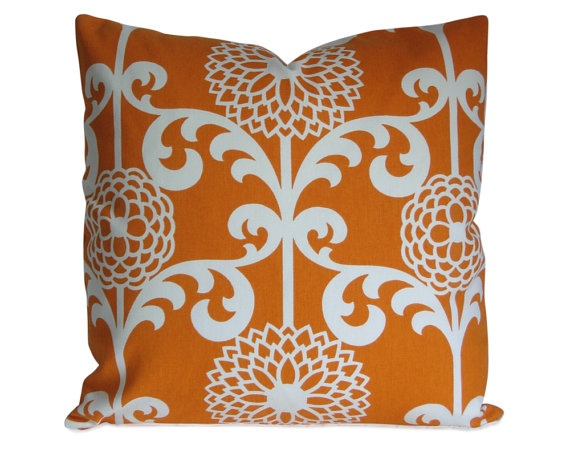 Modern Floral Pillows : Modern Floral Pillow Cover in Orange and Ivory by StitchedNestings, $45.00 For the Home ...