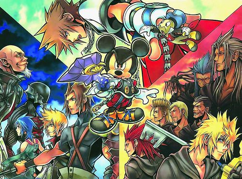 No title available at the moment.Illustration promoting the three Kingdom Hearts games: Birth by Sleep, 358/2 Days and Coded. Used during the Tokyo Game Show 2007. Hover your mouse over each person to find out their names!Illustrated by Tetsuya Nomura.