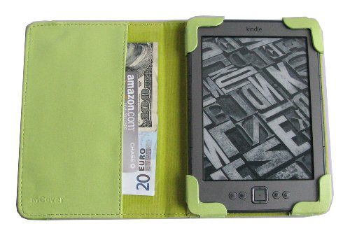 """GREEN mCover® Leather Folio Cover Case with built-in inner pocket for Amazon Kindle 4th Generation (Built-in Wi-Fi, 6"""" E Ink Display, 5-way controller)"""