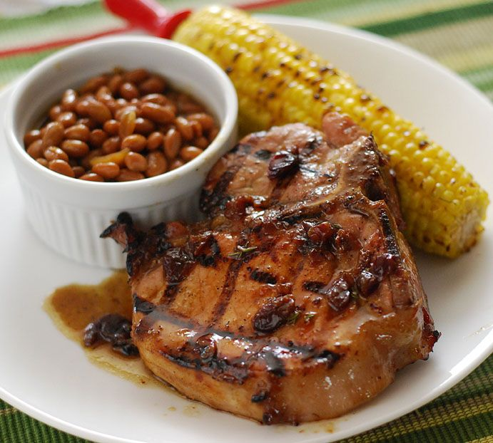 grilled bourbon and cherry pork chops, grill dome pork chop recipe, big green egg pork chop recipe
