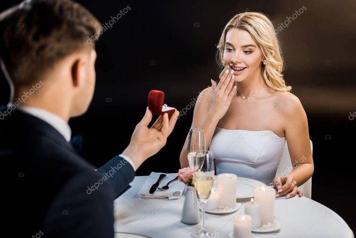 Selective Focus Man Making Marriage Proposal Amused Girl Black Background Inventory…