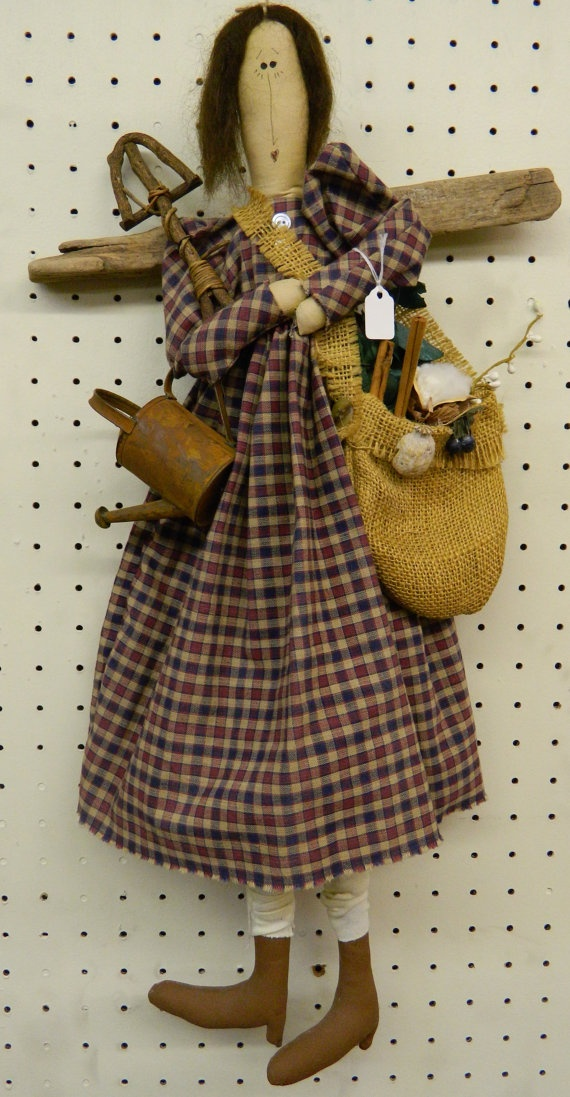 Vintage Primitive Angel Gardening Doll 33E by GrammysShop on Etsy, $28.00