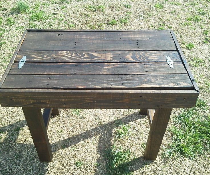 Reclaimed pallet side table with drawer space pallet for Table de x 6
