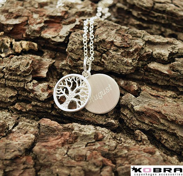 Sølvhalskæde med Livets Træ og ID tag til din personlige gravering