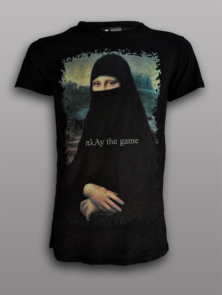 Mona Burqa Combed cotton silk screen printed #πλAy #playshirts #tshirt #tee #renaissance #famous #painting #paint #leonardo #davinci #mona #lisa #burqa #fashion #mashup #religion #europe #attack #under