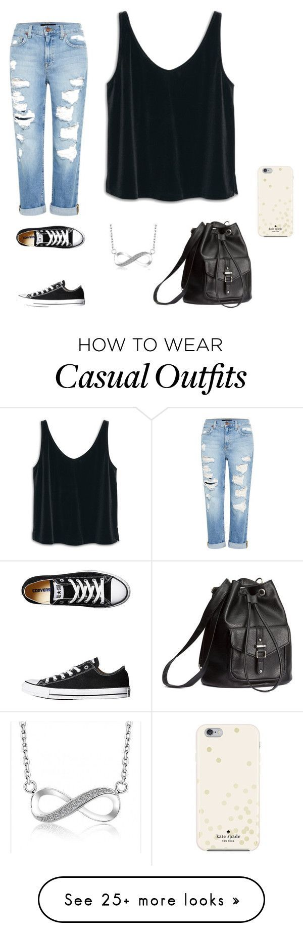 """""""Casual Movie"""" by ayowendy on Polyvore featuring MANGO, Genetic Denim, Converse, H&M and Kate Spade"""