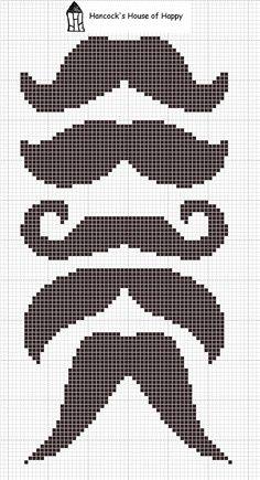 Diferentes bigotes para punto de cruz >> Moustaches cross stitch
