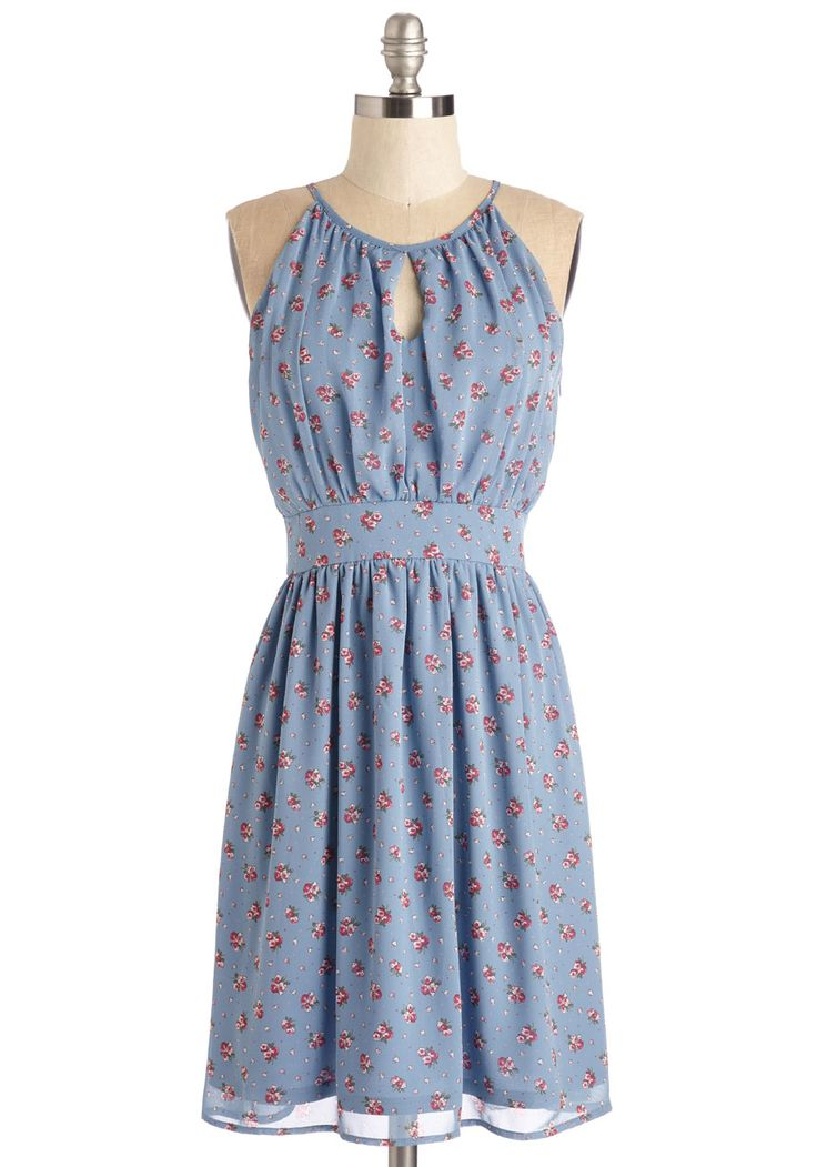 Botanical Blithe Dress. Like a flower petal dancing in the wind, you move with captivating grace in this dusty-blue dress! #blue #modcloth