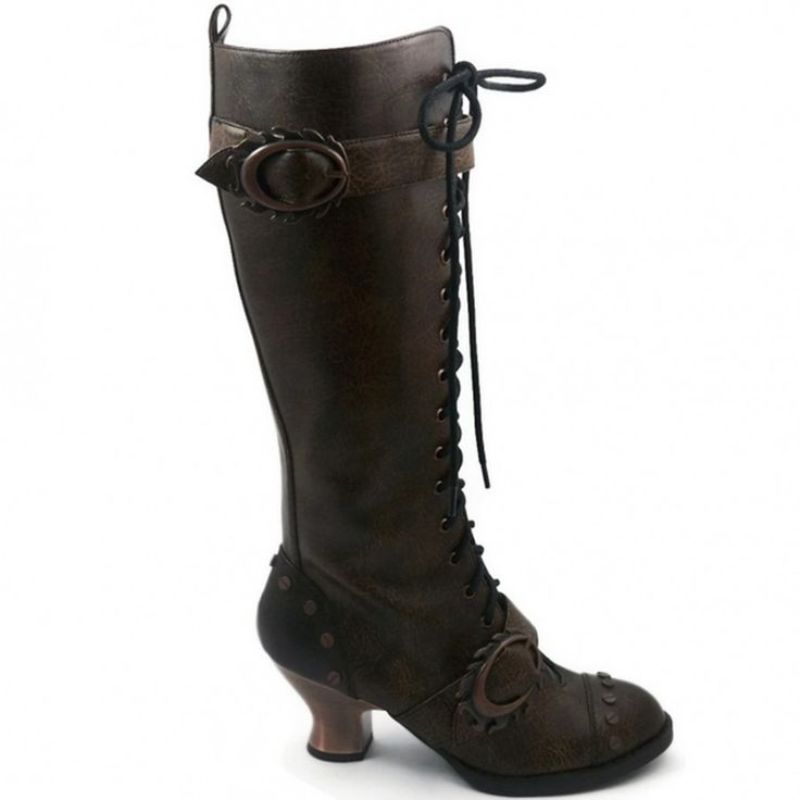 Vintage Steampunk Brown Womens Boots