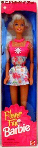 """Flower Fun Barbie Doll (1996). Flower Fun Barbie Doll is a 1996 Mattel production. Includes: Barbie Doll approx. 11.5"""" tall w/blond hair & blue eyes. Doll wears pink Button Earrings, a Dress that has pink across bust, pink straps & neck w/sheer glittery fabric from top of bust to neck, & the skirt is shimmery white w/pink tones, blue tones, purple, green & orange floral print. Comes w/Shoes & a pink Hair Brush. For Ages 3+ Years. All provided Sizes, Colors & Details are approximate, to the…"""