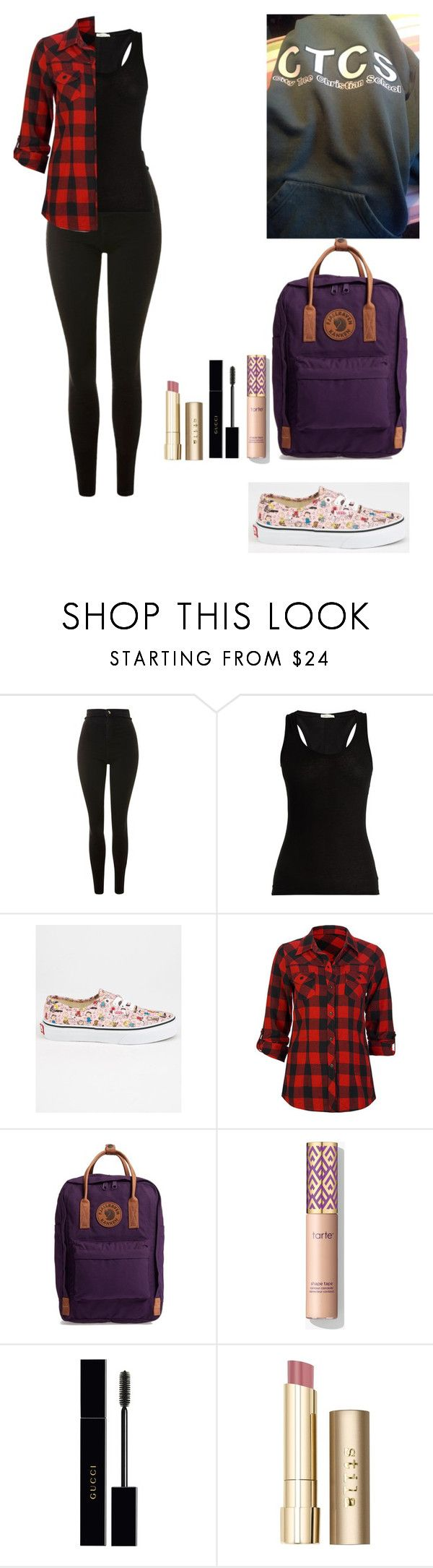 """""""Friday School Outfit"""" by londonblossom ❤ liked on Polyvore featuring Topshop, Skin, Vans, Full Tilt, Fjällräven, Gucci and Stila"""
