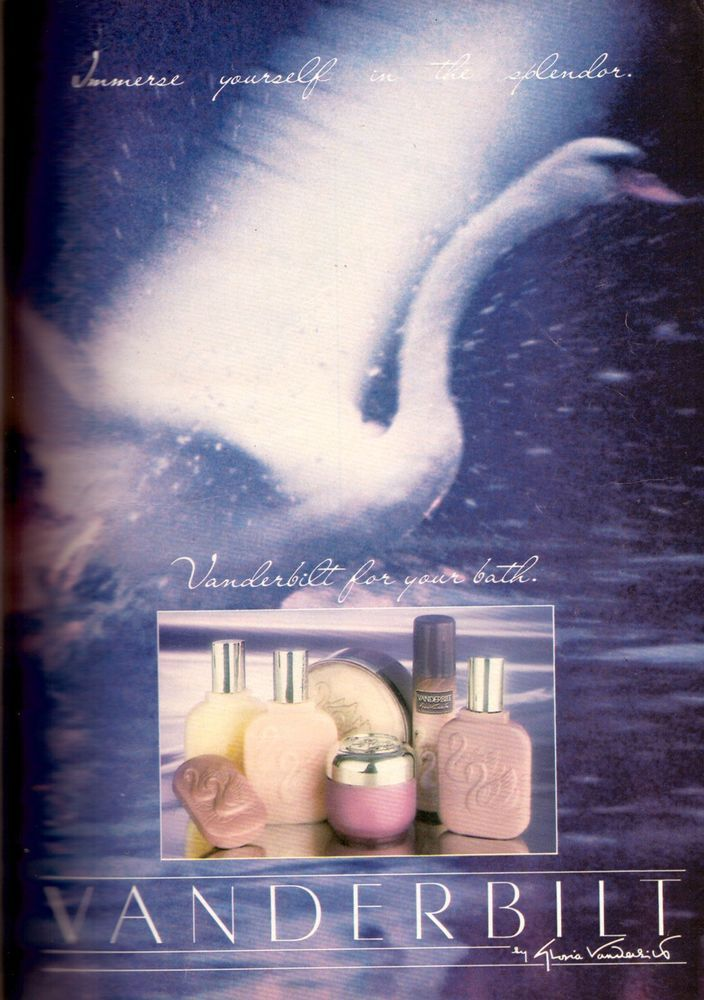 1985 GLORIA VANDERBILT Bath Soap Oil Perfume Swan Retro VTG PRINT AD VINTAGE 80s #GloriaVanderbilt