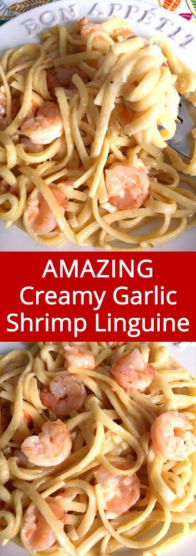 This creamy garlic shrimp linguine pasta recipe is so good, I'm drooling!