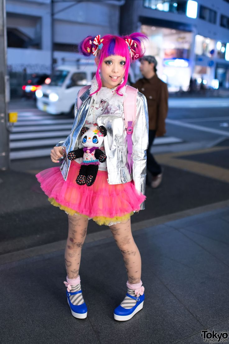 Super Kawaii Japanese Magazine Model Haruka Kurebayashi With Pink Hair Silver Motorcycle Jacket On The Street In Harajuku
