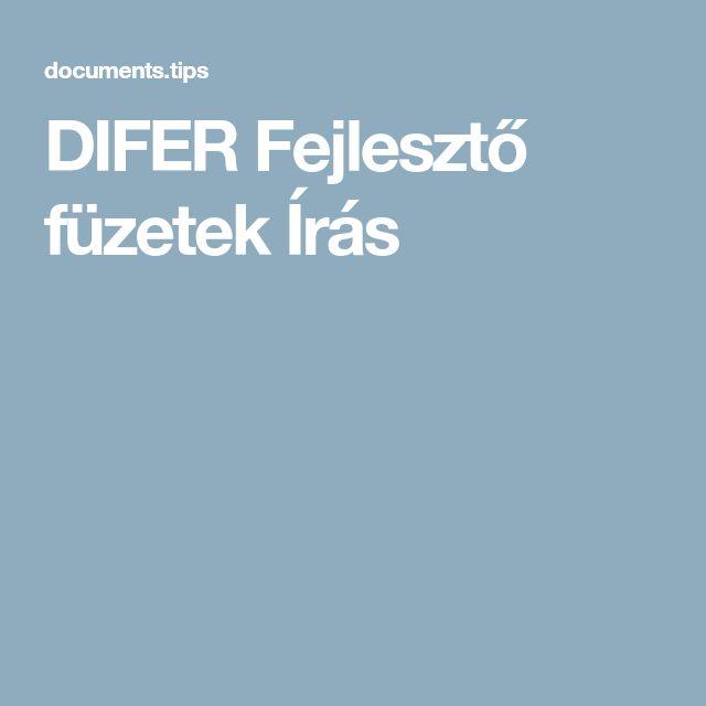 DIFER Fejlesztő füzetek Írás
