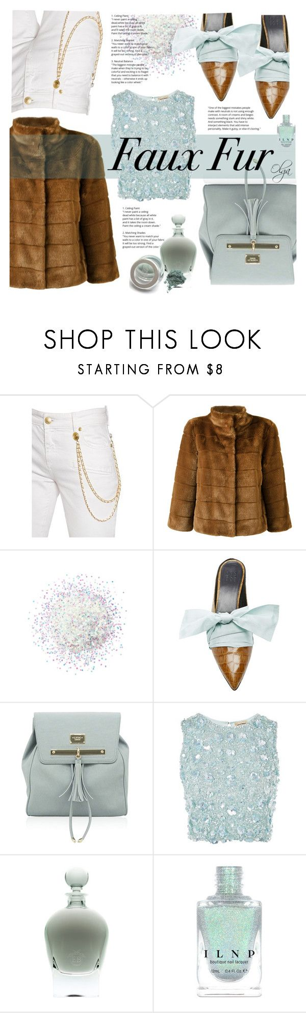 """""""Armani Faux Fur"""" by olga1402 ❤ liked on Polyvore featuring Pierre Balmain, Armani Jeans, Lace & Beads, aqua, whitejeans and fauxfur"""