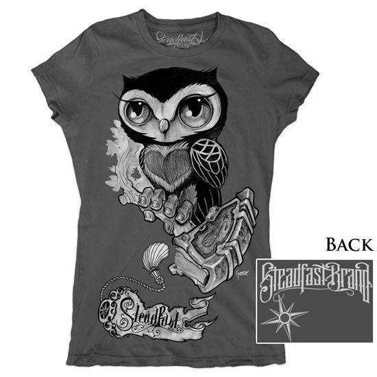 "Women's ""Owl"" Tee by Gunnar Gaylord for Steadfast Brand (Charcoal)"