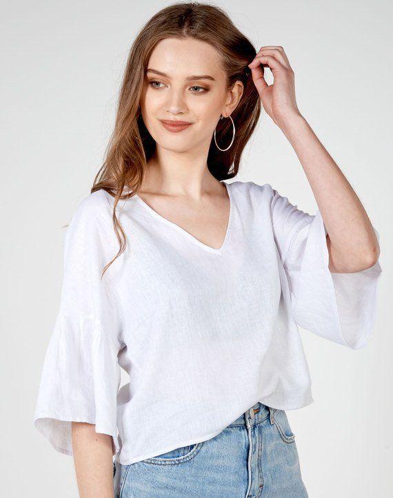 Linen Blend Flare Sleeve Blouse White