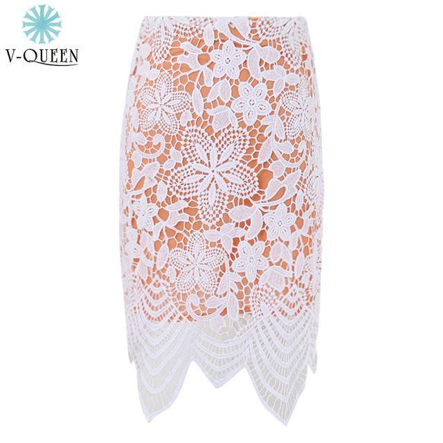 Мода 2015 embroidere крючком цветочные кружева асимметричная подолы высокая талия выдолбите вне Bodycon карандаш мини-юбки Femininos A1506031