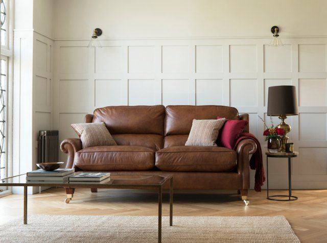 Parker Knoll Henley Brown Leather Sofa Home Decor Furniture Luxury Furniture