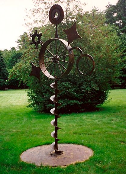 "Walter, 128"" x 60"" x 60""  a Scrap Metal sculpture created by Carole Eisner in 2000"