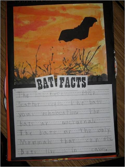 """Bat picture:  water color sky, watered down black tempra in foreground.  """"Bushes"""" by blowing watered down tempra through stir straws."""