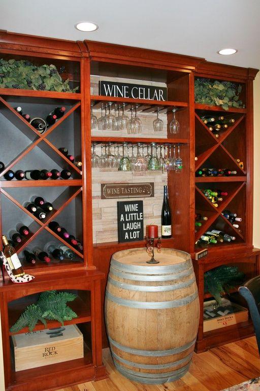 Mediterranean Wine Cellar with Napa East Wine Barrel Cabinet Wine Chiller, Maple 5-Bottle Wall Mounted Wine Rack