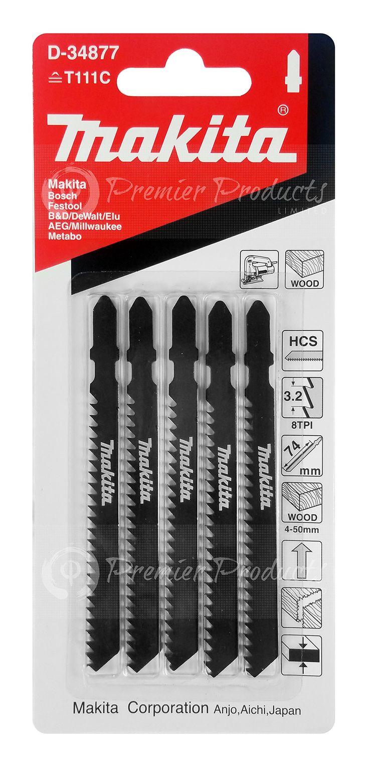 "Makita 5 Piece - T Shank Wood Jigsaw Blades For Jig Saws - Fast & Straight Cuts For Soft Wood & PVC - 4"" 8 TPI HCS Saw Blades"