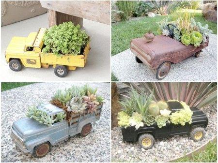 Mini jardines en camiones de juguete para decorar tu #patio o #terraza