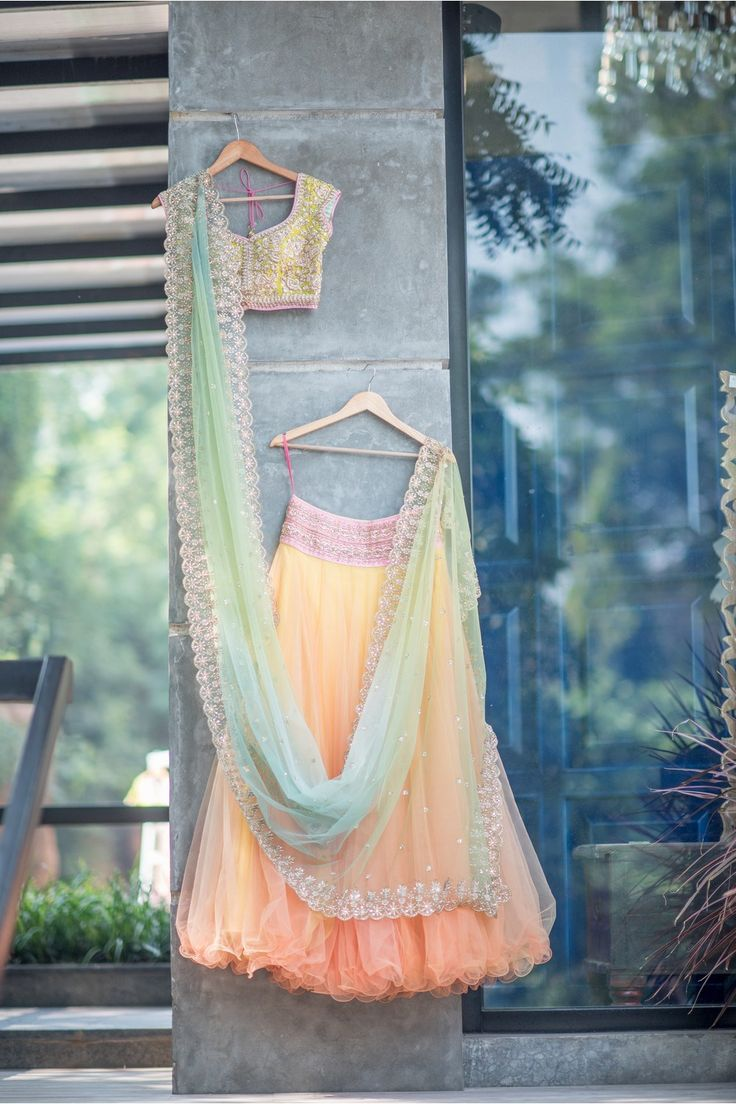 Multicolored Georgette Embroidered Lehenga By ANUSHREE REDDY