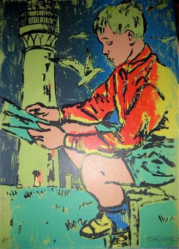"""Boy Reading at Lighthouse"" by David Bromley. Screenprint. 76 x 56 cm. Available for purchase, check it out at www.smythgalleries.co.nz"
