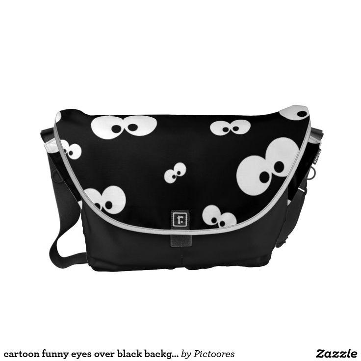 cartoon funny eyes over black background commuter bag