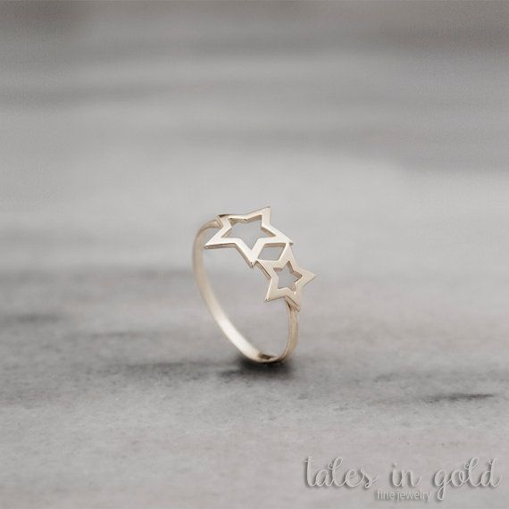 Solid Gold Ring Star Ring 14 karat gold Ring Double by TalesInGold